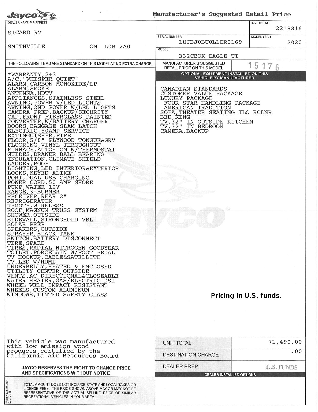 Buildsheet for 2020 JAYCO EAGLE 332CBOK