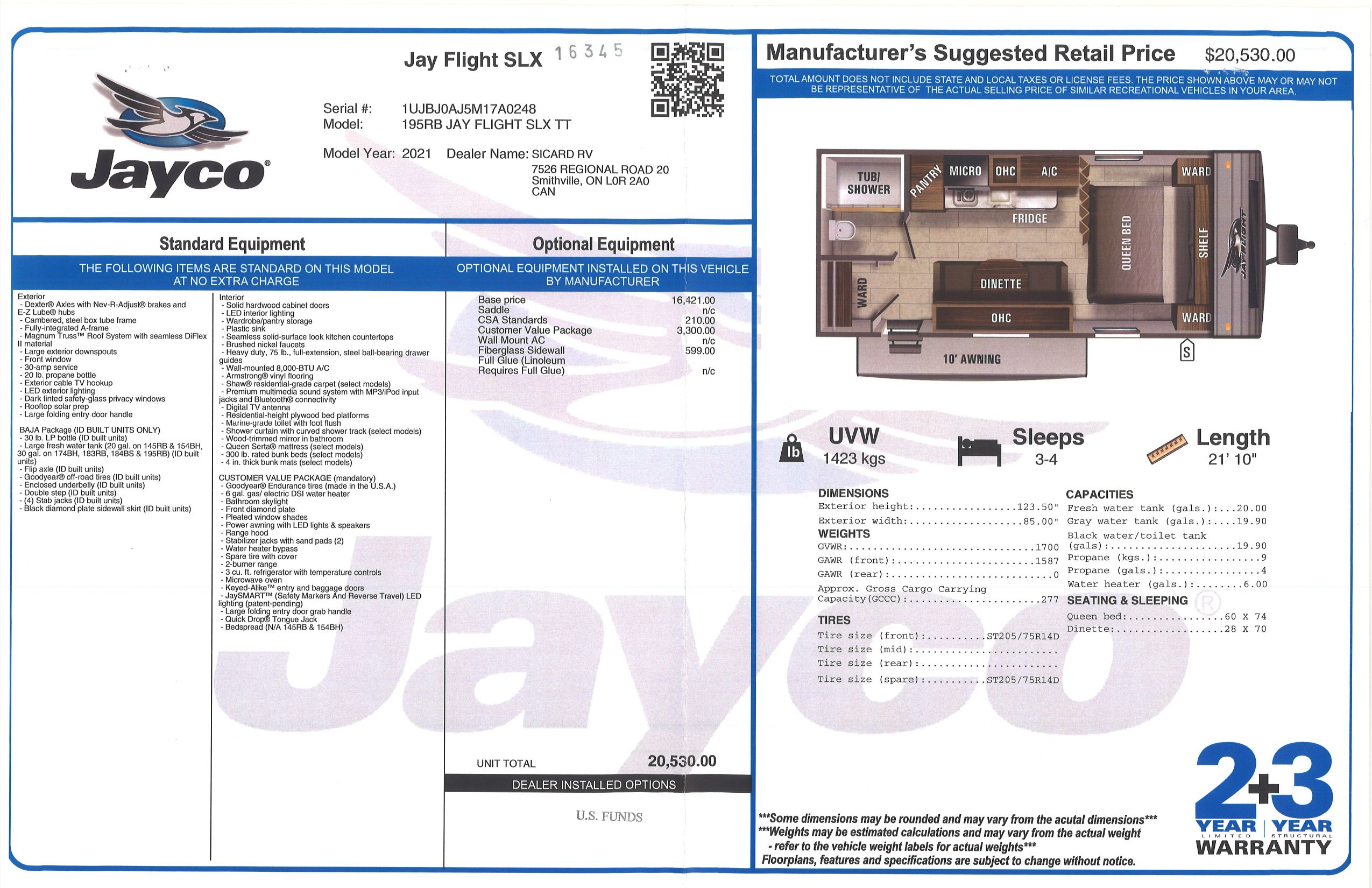 Buildsheet for 2021 JAYCO JAY FLIGHT SLX 7 195RB