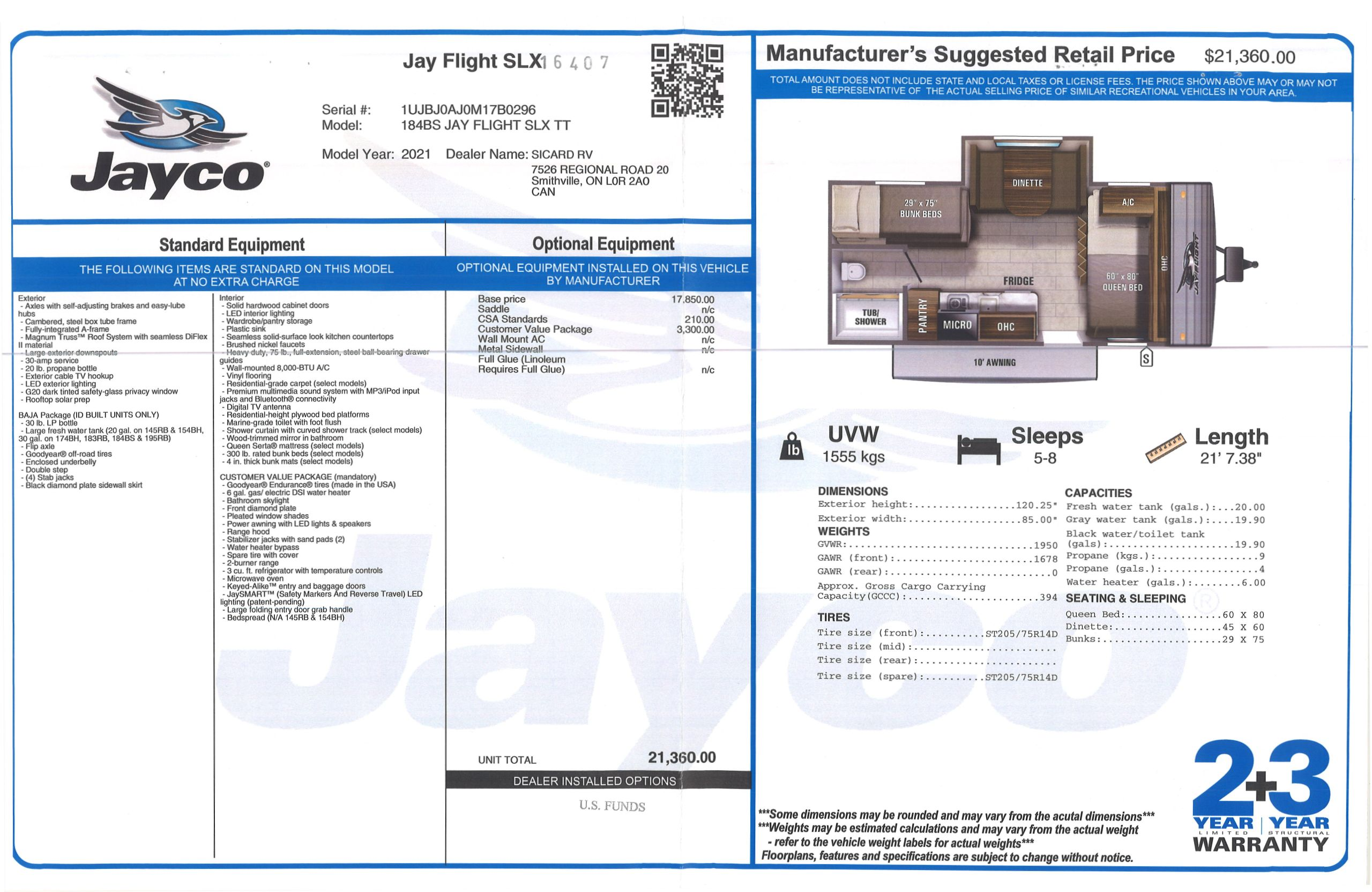 Buildsheet for 2021 JAYCO JAY FLIGHT SLX 7 184BS