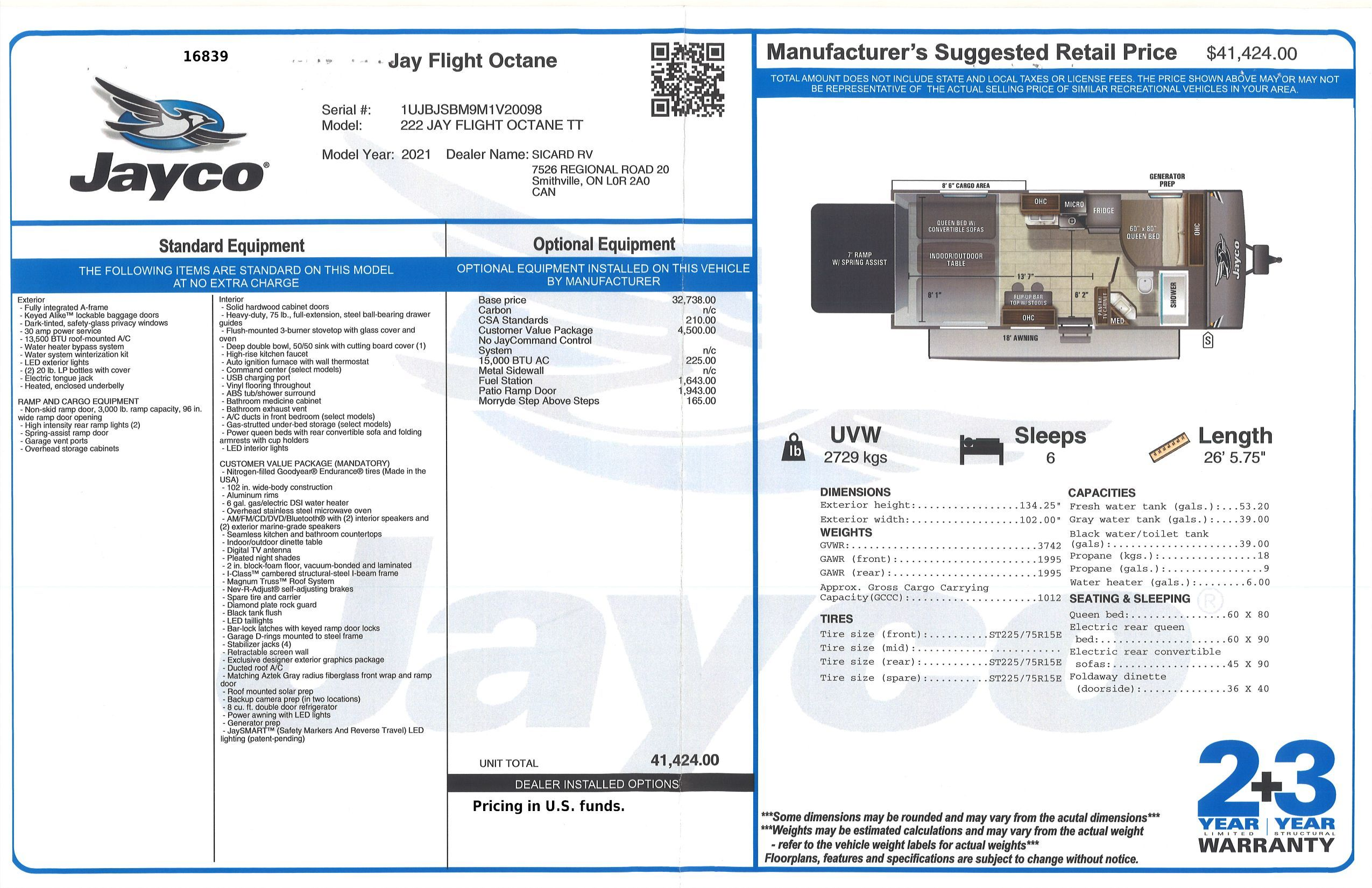 Buildsheet for 2021 JAYCO JAY FLIGHT OCTANE 222