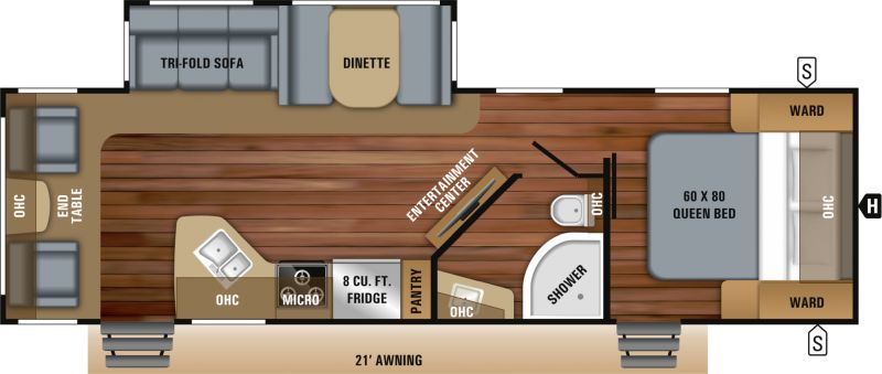 Floorplan for 2019 JAYCO WHITE HAWK 28RL