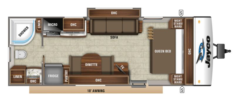 Floorplan for 2019 JAYCO JAY FEATHER 23RB
