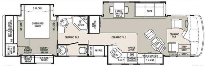 Floorplan for 2008 TRAVEL SUPREME INSIGNIA 40DSO4