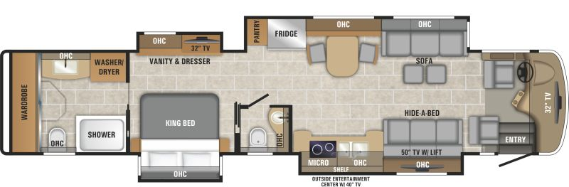 Floorplan for 2019 ENTEGRA COACH CORNERSTONE 45W