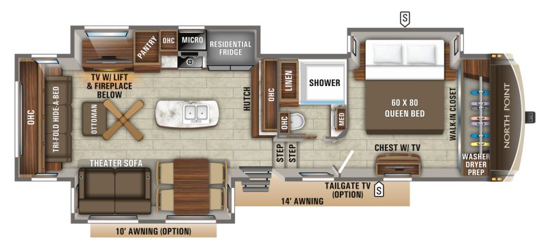 Floorplan for 2020 JAYCO NORTH POINT 315RLTS
