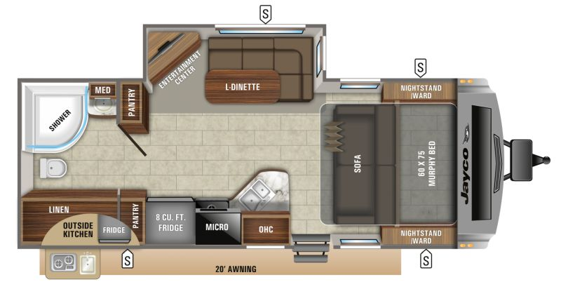 Floorplan for 2020 JAYCO WHITE HAWK 23MRB
