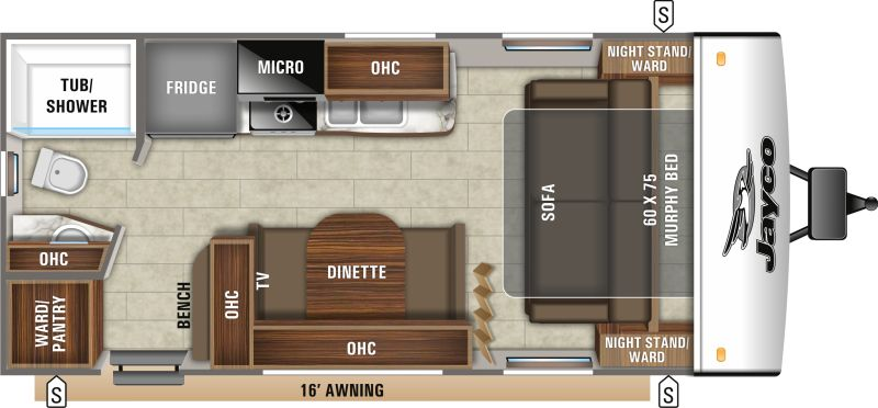 Floorplan for 2020 JAYCO JAY FEATHER 18RBM