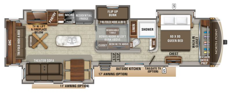 Floorplan for 2020 JAYCO NORTH POINT 377RLBH