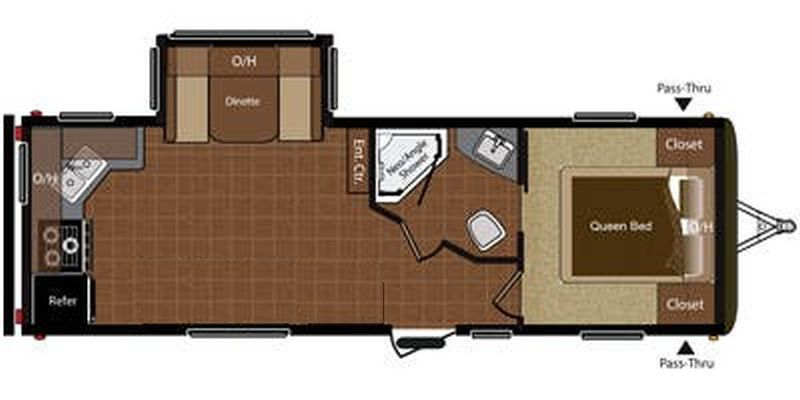 Floorplan for 2015 KEYSTONE HIDEOUT 25RKS
