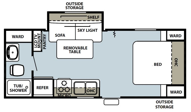 Floorplan for 2012 FOREST RIVER GREY WOLF 18RB