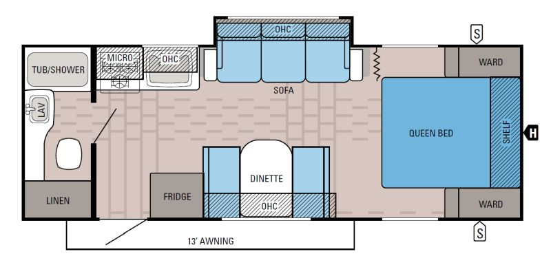 Floorplan for 2016 JAYCO JAY FEATHER 22FQSW