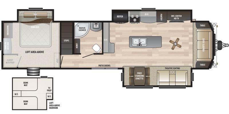 Floorplan for 2020 KEYSTONE RETREAT 391LOFT