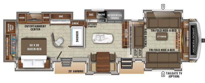 Floorplan for 2020 JAYCO NORTH POINT 381FLWS