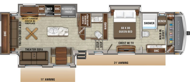 Floorplan for 2020 JAYCO NORTH POINT 387FBTS