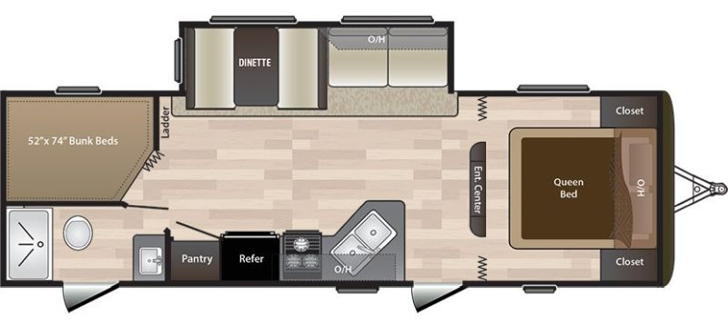 Floorplan for 2018 KEYSTONE HIDEOUT LHS 272LHS