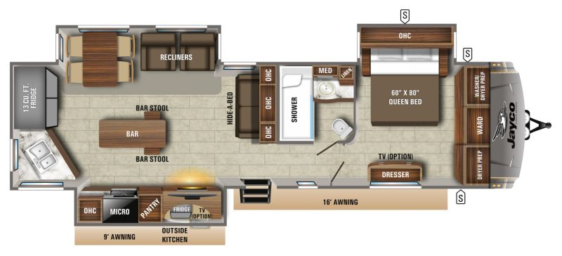 Floorplan for 2020 JAYCO EAGLE 332CBOK
