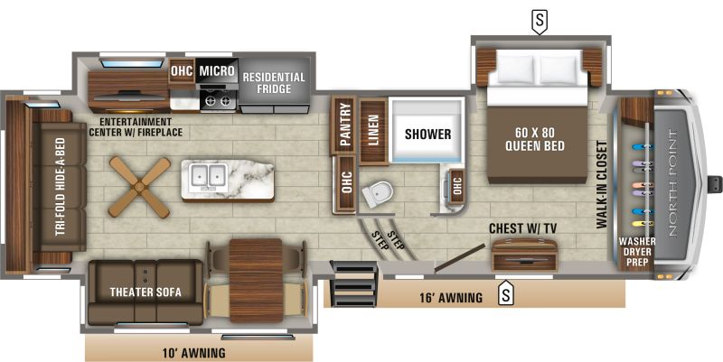 Floorplan for 2020 JAYCO NORTH POINT 310RLTS