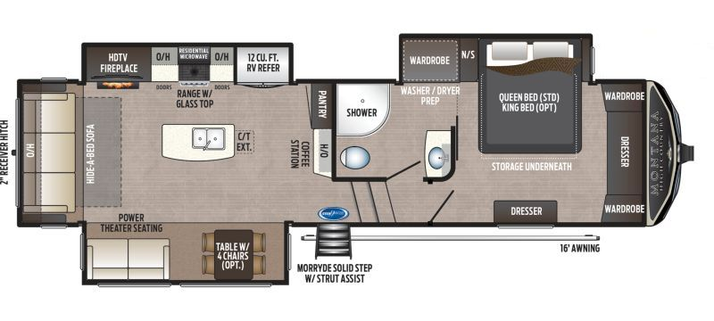 Floorplan for 2020 KEYSTONE MONTANA HIGH COUNTRY 294RL