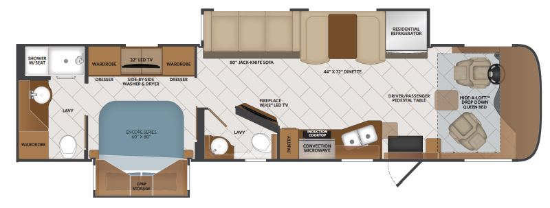 Floorplan for 2020 FLEETWOOD PACE ARROW 36U