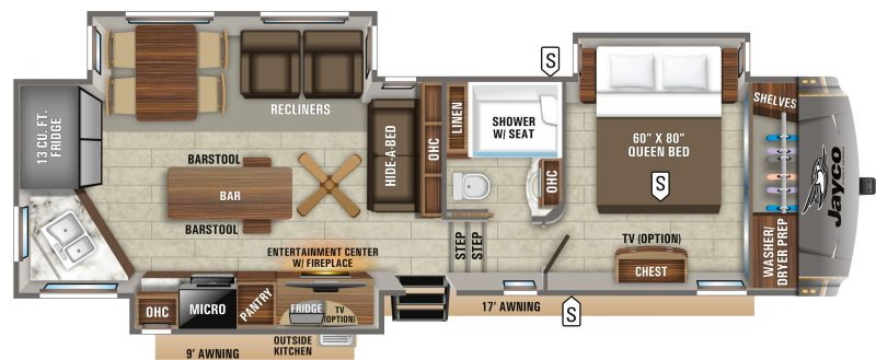 Floorplan for 2020 JAYCO EAGLE 319MLOK