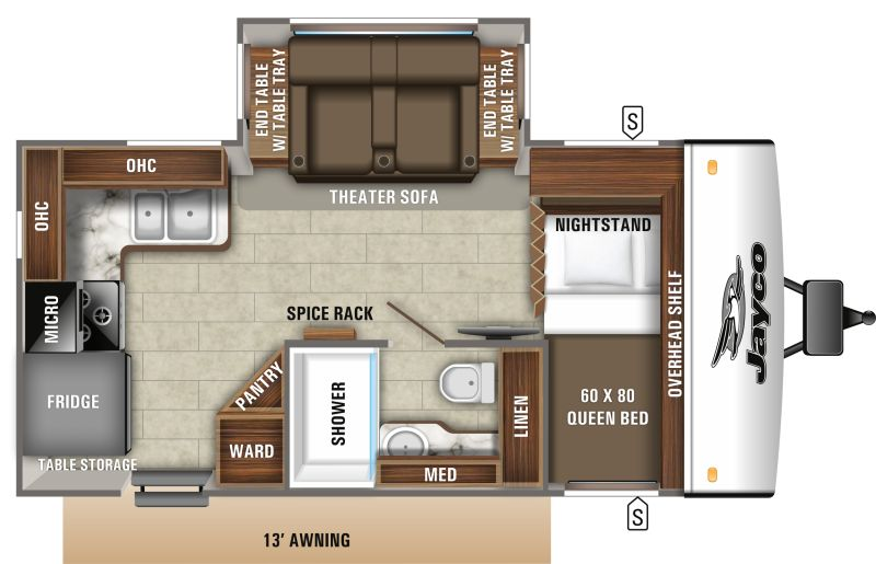 Floorplan for 2020 JAYCO JAY FEATHER 16RK