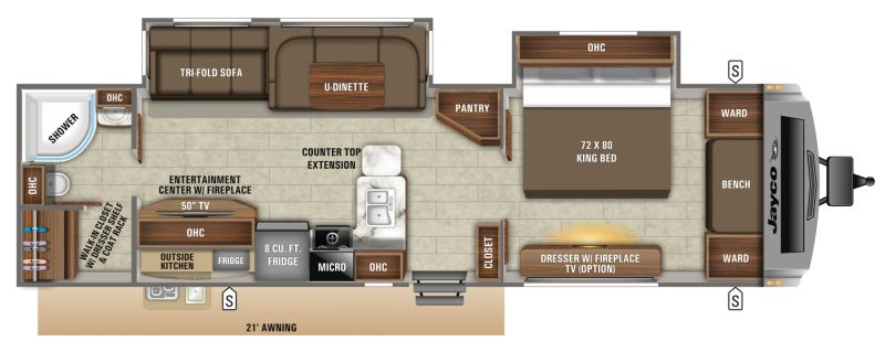 Floorplan for 2019 JAYCO WHITE HAWK 32KBS