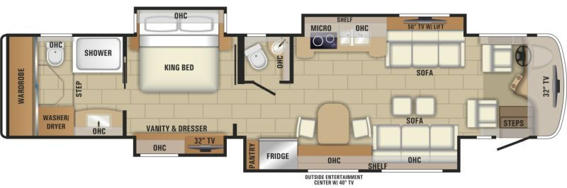 Floorplan for 2018 ENTEGRA COACH CORNERSTONE 45A