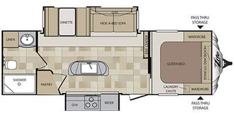 Floorplan for 2015 KEYSTONE COUGAR X-LITE 26RBI