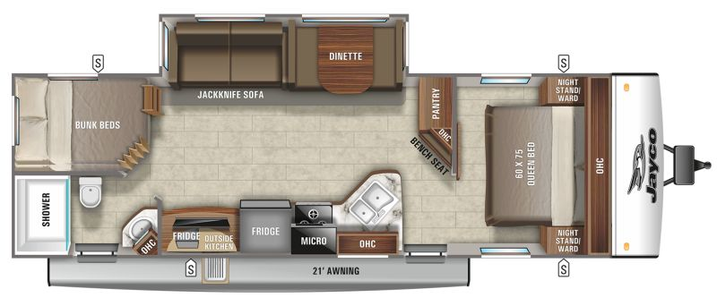 Floorplan for 2021 JAYCO JAY FEATHER 27BHB