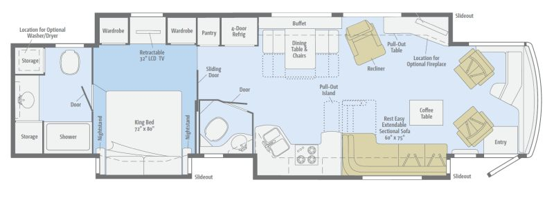 Floorplan for 2011 WINNEBAGO TOUR 42QD