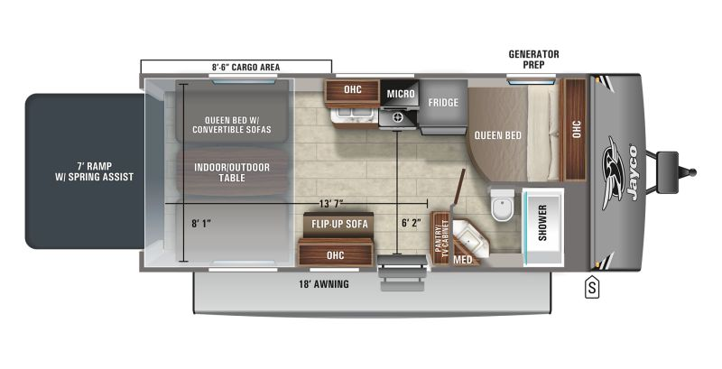 Floorplan for 2021 JAYCO JAY FLIGHT OCTANE 222