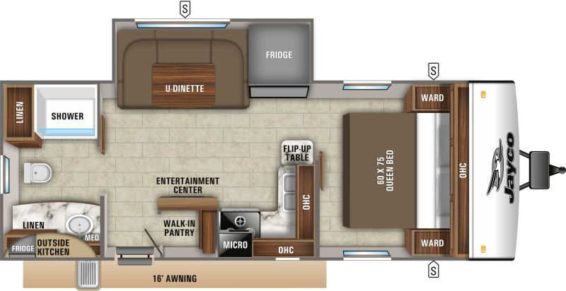 Floorplan for 2020 JAYCO JAY FEATHER 22RB