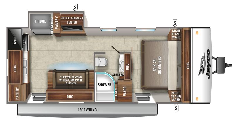 Floorplan for 2021 JAYCO JAY FEATHER 22RK