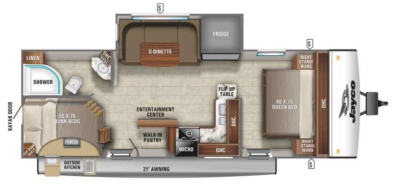 Floorplan for 2021 JAYCO JAY FEATHER 24BH