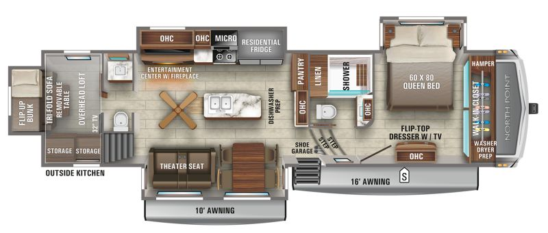 Floorplan for 2021 JAYCO NORTH POINT 373BHOK