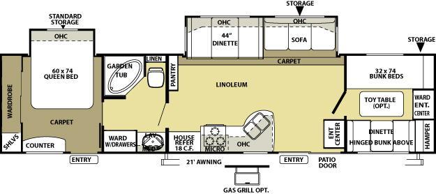 2010 FOREST RIVER SALEM 36BHBS (bunks) Floorplan