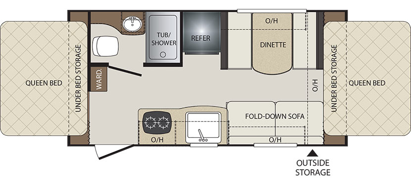 2019 KEYSTONE BULLET CROSSFIRE 1650EX (bunks) Floorplan