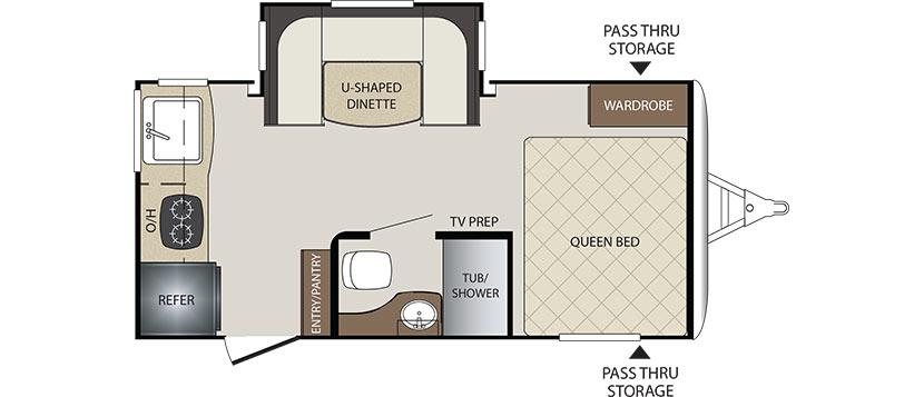 2018 KEYSTONE BULLET CROSSFIRE 1750RK (couples) Floorplan
