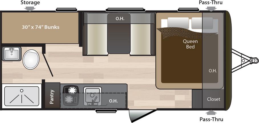 2019 KEYSTONE HIDEOUT LHS 175LHS (bunks) Floorplan