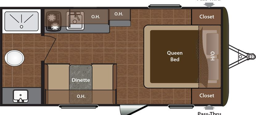 2016 KEYSTONE HIDEOUT LHS 178LHS (couples) - Floorplan