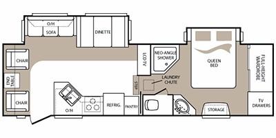 2010 KEYSTONE COUGAR HIGH COUNTRY 291RLS (couples) Floorplan