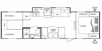 2012 KEYSTONE RV BULLET 286QBS (bunks) Floorplan