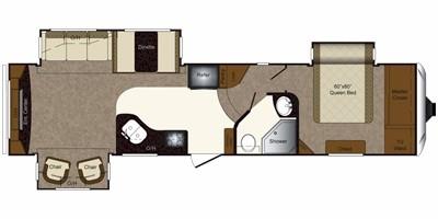 2011 KEYSTONE LAREDO 310RE (couples) Floorplan