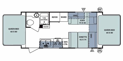 2012 FOREST RIVER SURVEYOR 192T (hybrid) Floorplan