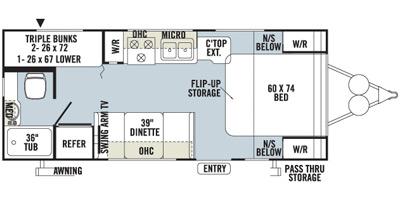 2014 FOREST RIVER ROCKWOOD MINI-LITE 2306 (bunks) Floorplan