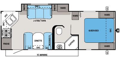 2014 JAYCO WHITEHAWK 24RKS (couples) Floorplan