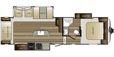 2015 KEYSTONE COUGAR HIGH COUNTRY 29RLI (couples) Floorplan