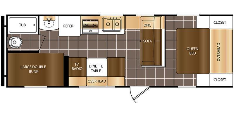 2016 PRIMETIME AVENGER 26BH (bunks) Floorplan
