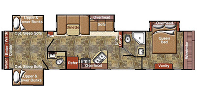 2016 GULFSTREAM KINGSPORT 409RBB (bunks) Floorplan