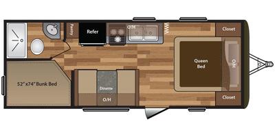 2017 KEYSTONE HIDEOUT LHS 212LHS (bunks) Floorplan